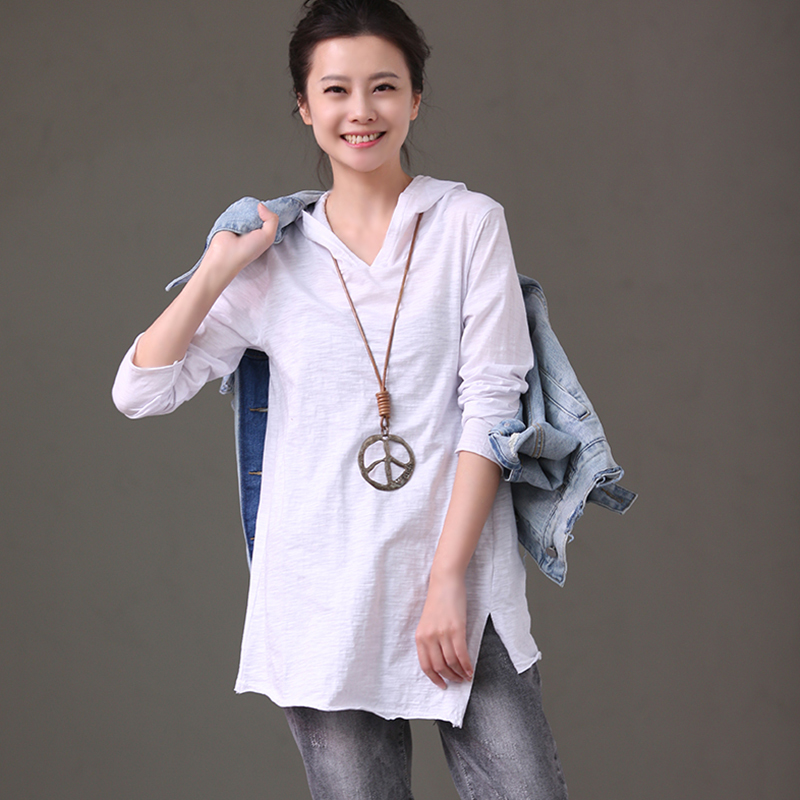 T6291B Asymmetrical cotton long sleeve white T shirt for spring 2018