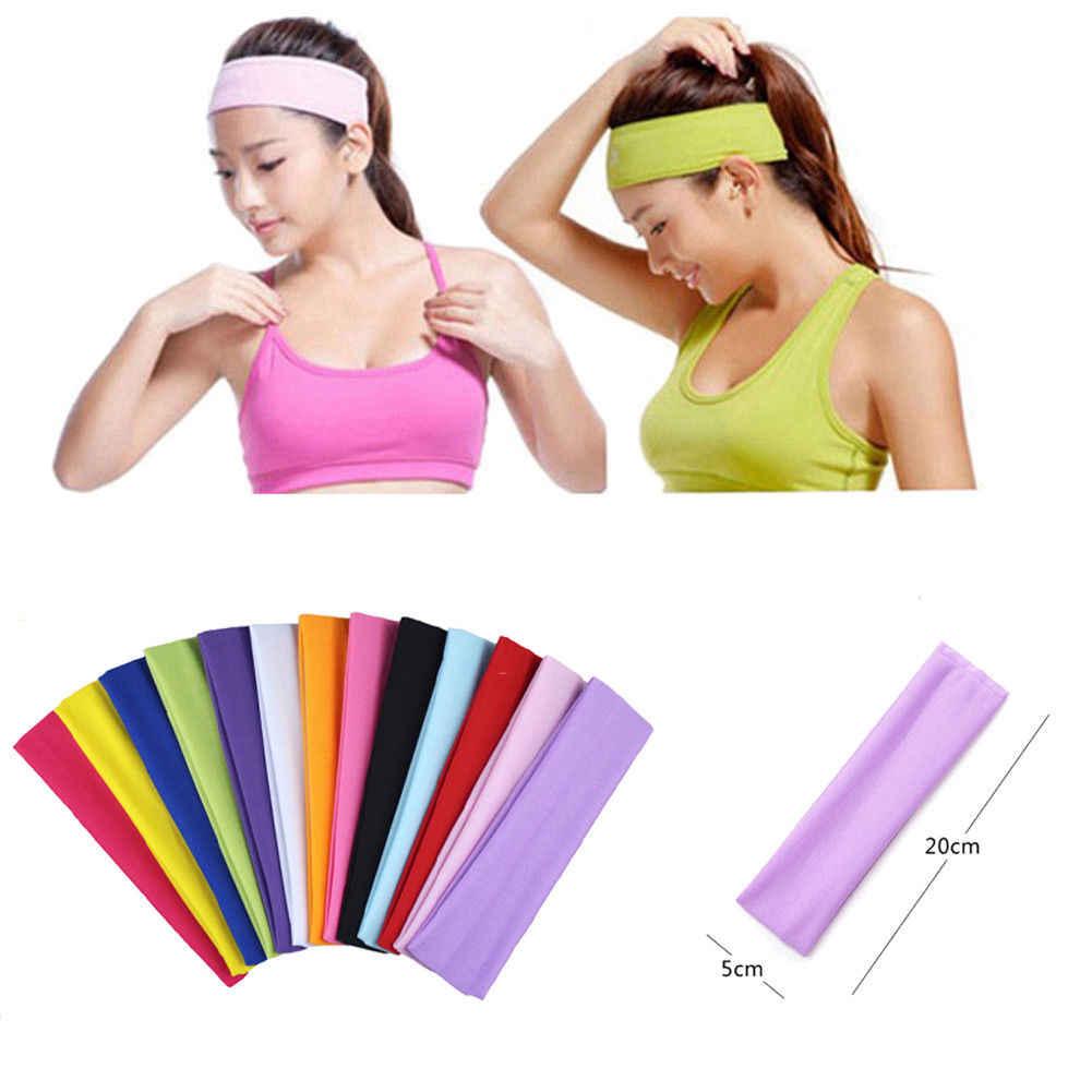 Sportowe opaska do włosów elastyczna szeroka siłownia ćwiczenia kobiety mężczyźni Unisex opaska z pałąkiem na głowę bandaż stałe detalicznej sprzedaży hurtowej