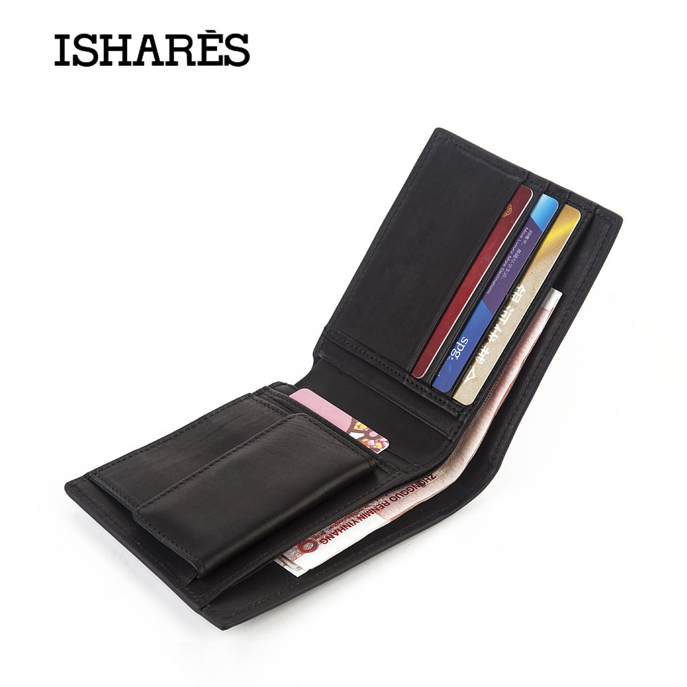 Купить с кэшбэком ISHARES High quality men short handmade weave genuine leather wallets male fashion cow leather horizontal purse IS6003A