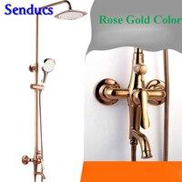 Senducs Rose Gold Shower Set Round ABS Top Shower Fashion Design Brass Bathroom Shower Faucet Rose Gold Shower Set