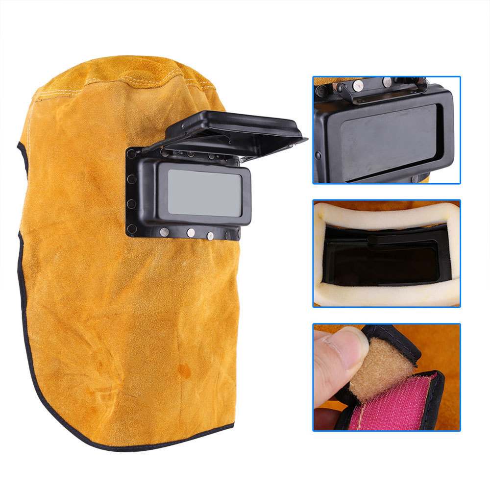 Welding Helmet Cowhide Convenient Protect Welder Mask Arc Tig Mig Yellow Drop Shipping