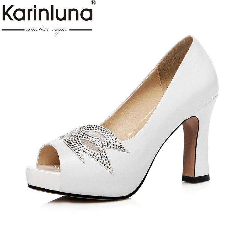 KARINLUNA 2018 Size 33-40 Brand Shoes Women Peep Toe Party Women Shoes Sexy Pumps Platform High Heels Wedding Shoes Woman women luxury shoes platform pumps bridal wedding lolita shoes black red beige bottom peep toe high heels fetish shoes size 4 16