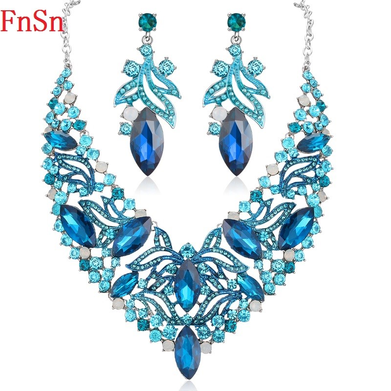 FnSn New Hot Jewelry Sets Blue Crystal Necklaces Set Prom Wedding Party Necklace Earrings Sets Jewelry Fashion Gifts Women S132 viennois new blue crystal fashion rhinestone pendant earrings ring bracelet and long necklace sets for women jewelry sets