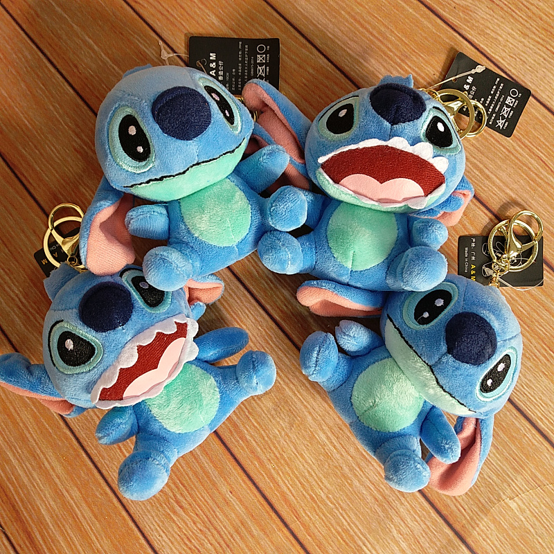 Cartoon Lilo & Stitch Anchor Keychain Keyring Trendy Bag Accessories Charm Pendant Mini Plush Stuffed Animal Toy Keychains Gift