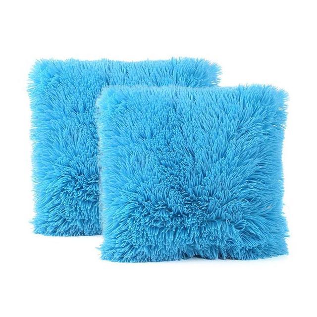 EG/_ 2Pcs Solid Pillow Case Rectangle Throw Cushion Cover Home Sofa Decor Splendi