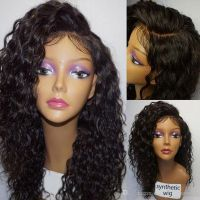 Left Side Part Synthetic Kinky Curly Lace Front Wigs For Black Women Glueless Heat Resistant Baby Hair Lace Wig hign density