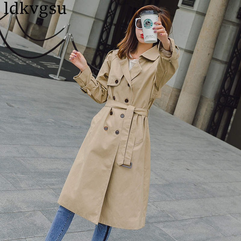 fashion Long   Trench   Coats Women Long section Korean Spring Autumn Coats 2019 New waist khaki Spring Windbreaker Coat V408