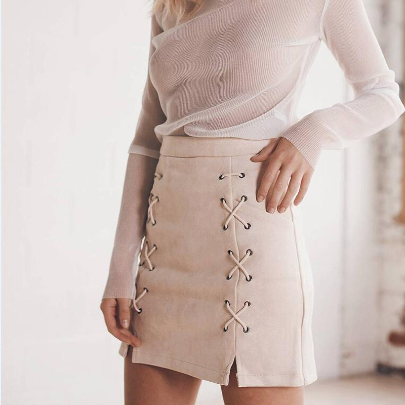 c42a420c61d11e Achiewell Summer Elegant Women Mini Skirt Bandage Decorated Cross High Waist  Hem Slit Zipper Suede Lace Up Pencil Skirt-in Skirts from Women's Clothing  on ...