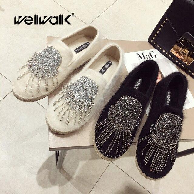 Fur Black Flat Shoes Women Loafer Flats Women Shoes Slip On Ballerina Flats Ladies Fur Moccasins Boat Shoes Winter Espadrilles