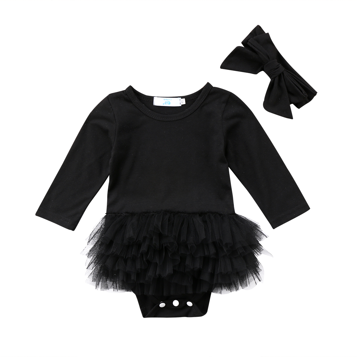 Infant Newborn Baby Girls   Romper   Black Lace Tutu Jumpsuit Outfit Clothes baby Clothing