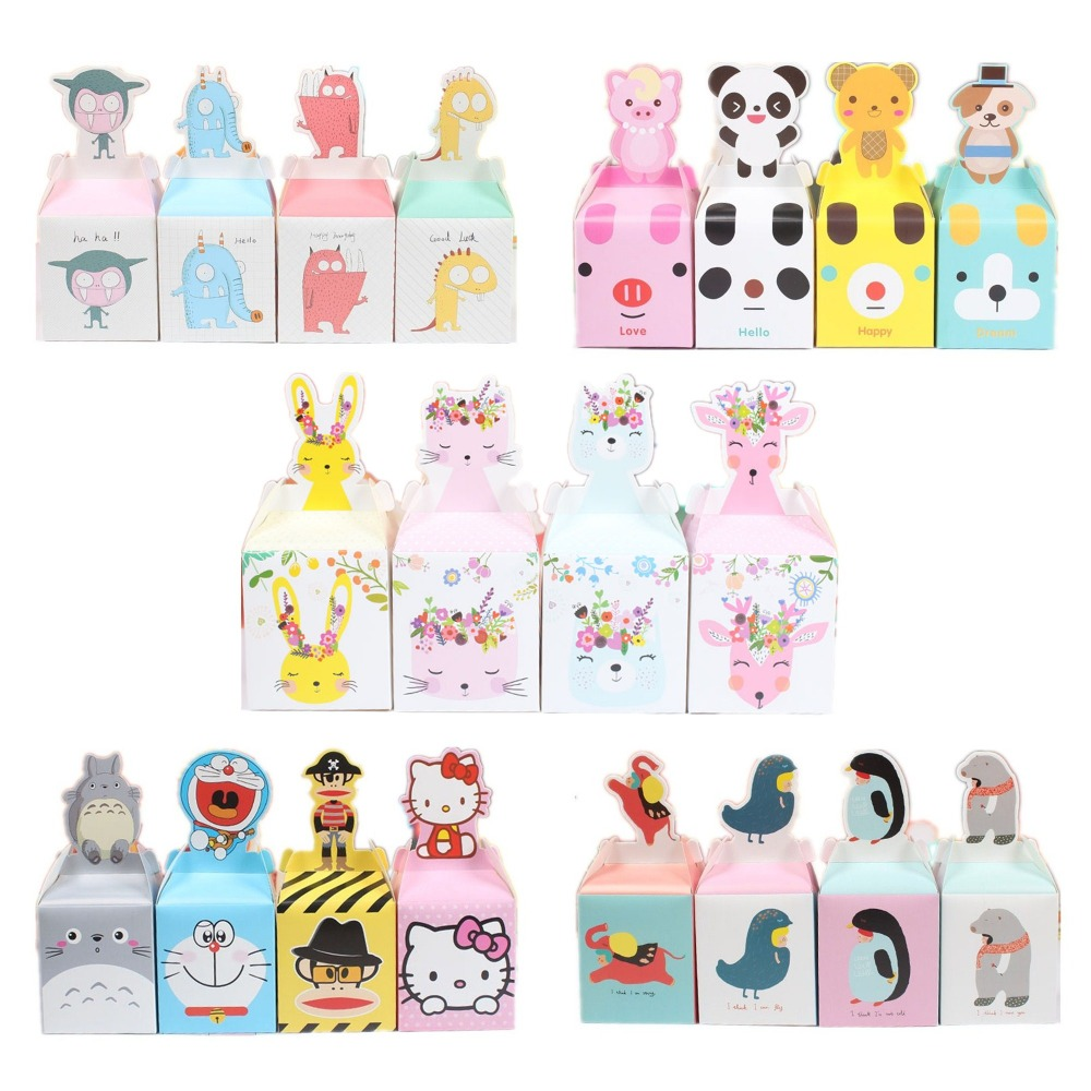 10pcs Cartoon Animal Panda Dog Pig Safari Party Candy Box Cookie Box Kids Party Favors Birthday Gift Box Candy Apple Boxes