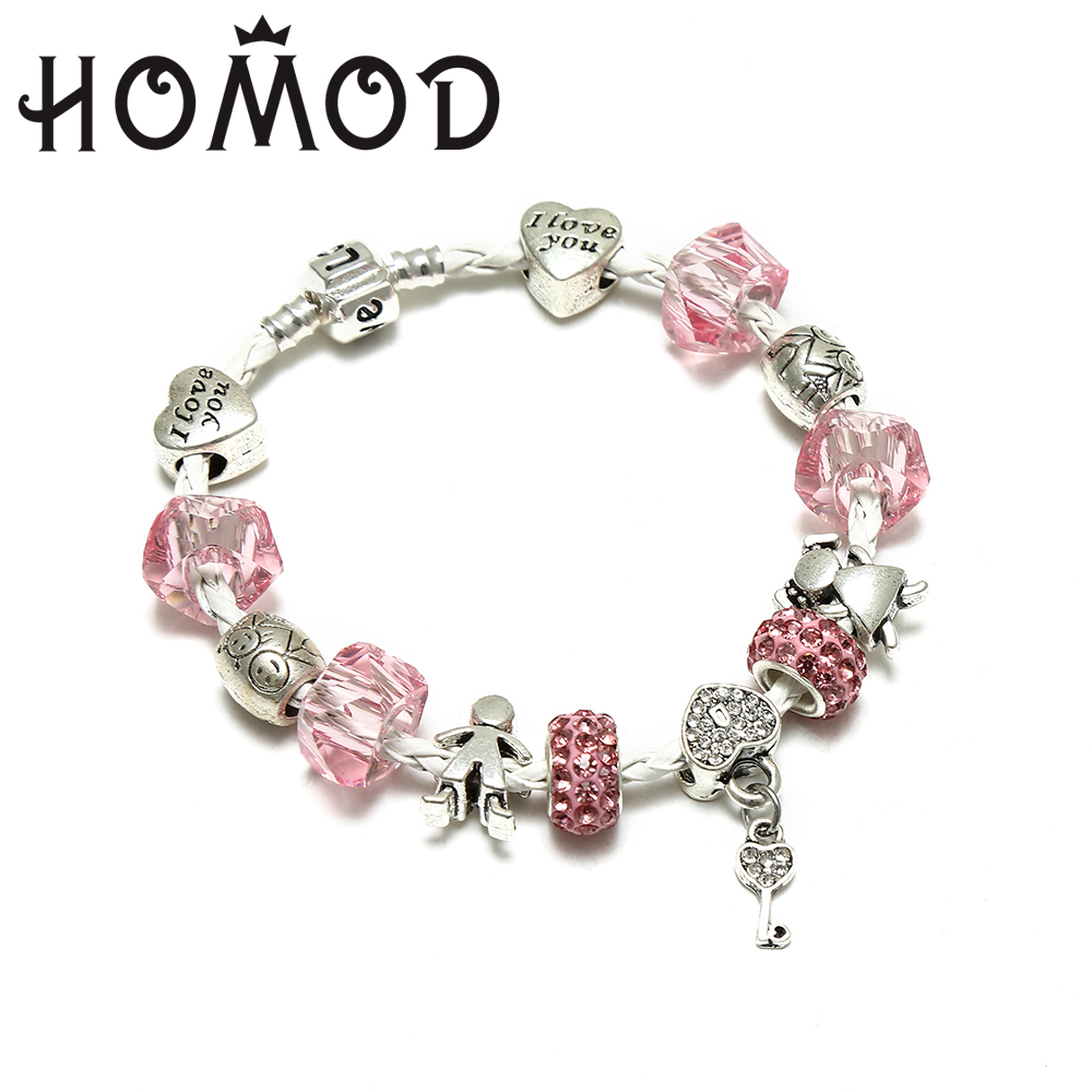 HOMOD 2017 DIY Pink Crystal Couple Beads Pandora Bracelets & Bangles Snake Chain Charm Bracelets For Women Jewellery Pulsera