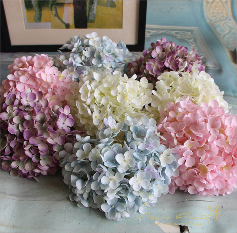4 Color Hydrangea Artificial Flowers Silk Flower Wedding Bride - Which-artificial-flower-colors-are-good-for-a-home