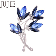 JUJIE Fashion Female Crystal Flower Brooches For Women 2020 Lapel Pins Brooch Jewelry Dropshipping jujie fashion crystal deer brooches coat clothing scarf lapel pins elk corsage fashion jewelry