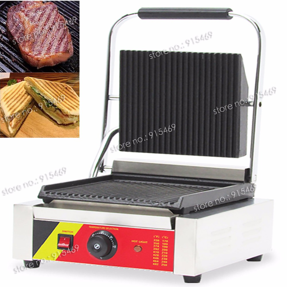 Free Shipping 110V 220V Electric Heavy Duty Commercial Sandwich Panini Grill Press Machine free shipping commercial non stick 220v electric sandwich plate panini grill press machine
