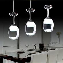110 V/220 V Modern Wine Glass จี้ lighs สำหรับร้านอาหารจี้อะคริลิค 1/3/5 หัวแฟชั่นห้องอาหารแขวน