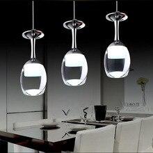 110 V/220 V Modern şarap bardağı kolye ışıkları restoran için akrilik sarkıt lamba 1/3/5 kafa moda Bar yemek odası asılı ışık