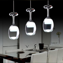 110 V/220 V מודרני יין זכוכית תליון lighs למסעדה אקריליק תליון מנורת 1/3/5 ראשי אופנה בר אוכל חדר תליית אור