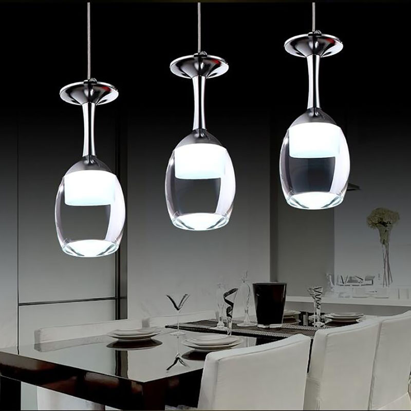 110V/220V Modern Wine Glass Pendant Lighs For Restaurant Acrylic Pendant Lamp 1/3 / 5heads Fashion Bar Dining Room Hanging Light