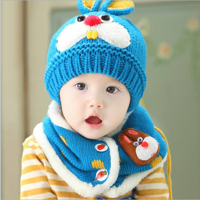 e5c745176b7 placeholder 2018 hot sale Baby Winter Hat Set with Scarf Neck Warmer cute  Rabbit Cap for Boys
