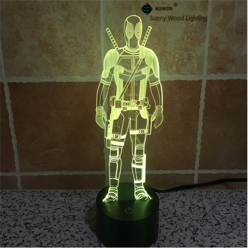 Deadpool switch LED 3D lamp,Visual Illusion 7color changing 5V USB for laptop,Christmas cartoon toy lamp