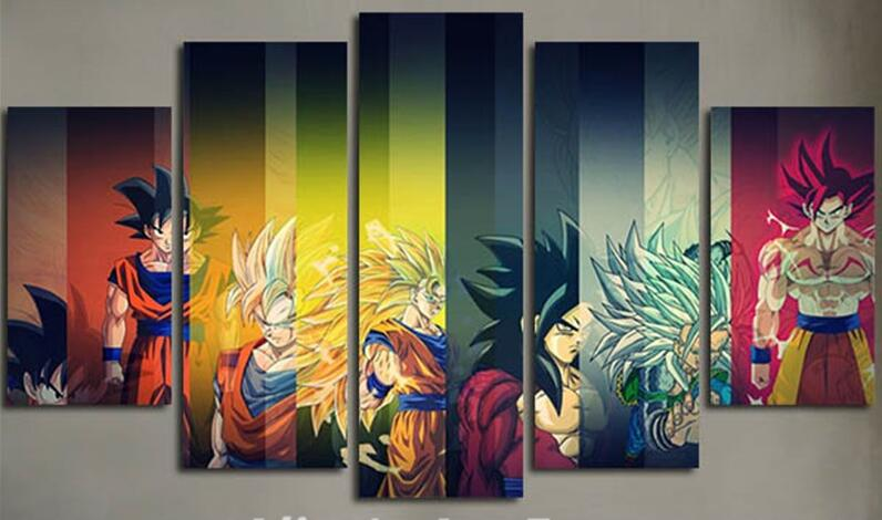 5 Planes Colorful Wall Canvas Painting Dragon Ball Posters