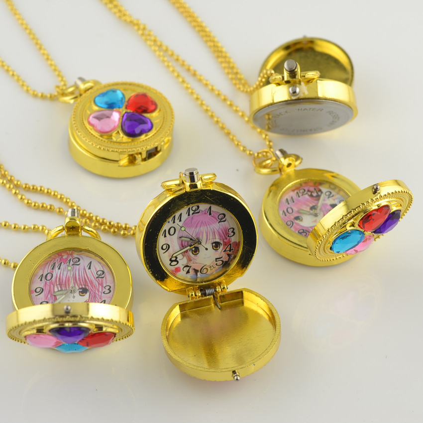 DHL Free Shipping High Quality Hot Sell Gold Case Clover Gyro Quartz Pocket Watch Sweater Chain Christmas Gift Watch