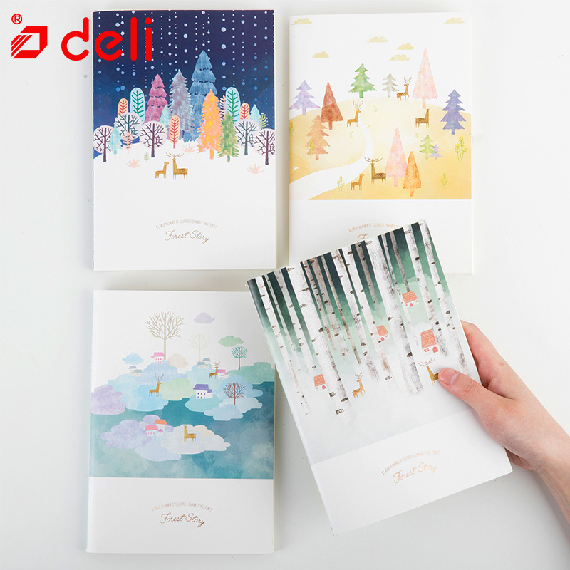 Deli 4pcs Professional A5 60Sheets Notebook Writing Book White Paper Notebook Fitted Soft Copybook School Stationery Supplies