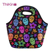 Thikin Candy Skull Lunch Bag for Women Cool Portable Hand Tote Feminine Thermal Insulated Meal Kid Girls lbolsa almuerzo