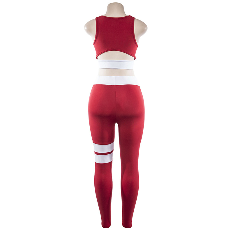 Women Tracksuit Solid Yoga Set Patchwork Running Fitness Jogging T-shirt Leggings Sports Suit Gym Sportswear Workout Clothes S-L 15