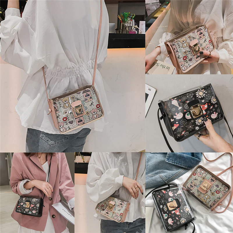 2019 New Lady Lovely Casual Mini Transparent Cartoon Pattern PVC Plastic Crossbody Shoulder Durable Bag