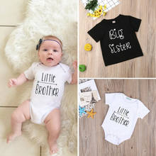 PUDCOCO Toddler Kids Baby Little Brother Romper Big Sister T-shirt Short Sleeve Outfits Support wholesale(China)