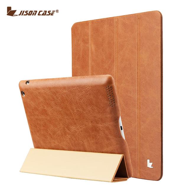 Jisoncase genuíno couro fino case para ipad 2/3/4 suporte de luxo de alta qualidade inteligente tablet covers & cases
