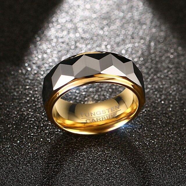 VNOX 100% Tungsteno Uomini Anello Nuziale Maschile Gioielli Color Oro 8mm di Larghezza Dropshipping