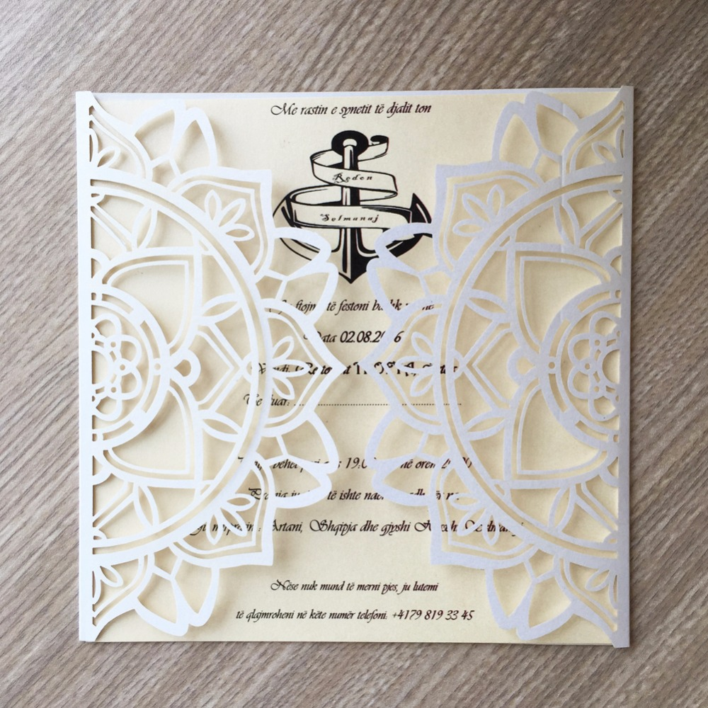 50pcs Glossy Paper Craft Modern Design Wedding Invitations Cards ...