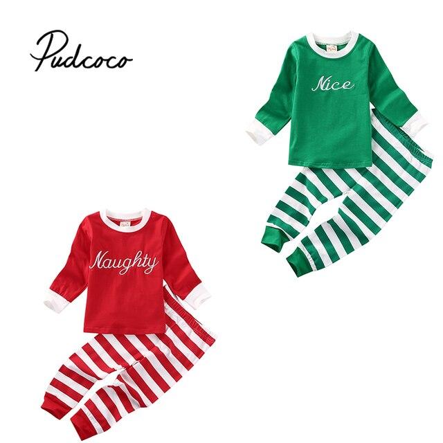 21b9934acb5b 2PCS Little Kids Xmas Stripe Pajamas Pjs Baby Boy Girl Long Sleeve Top  Striped Pants Christmas Clothing Outfit Costume 1-6T