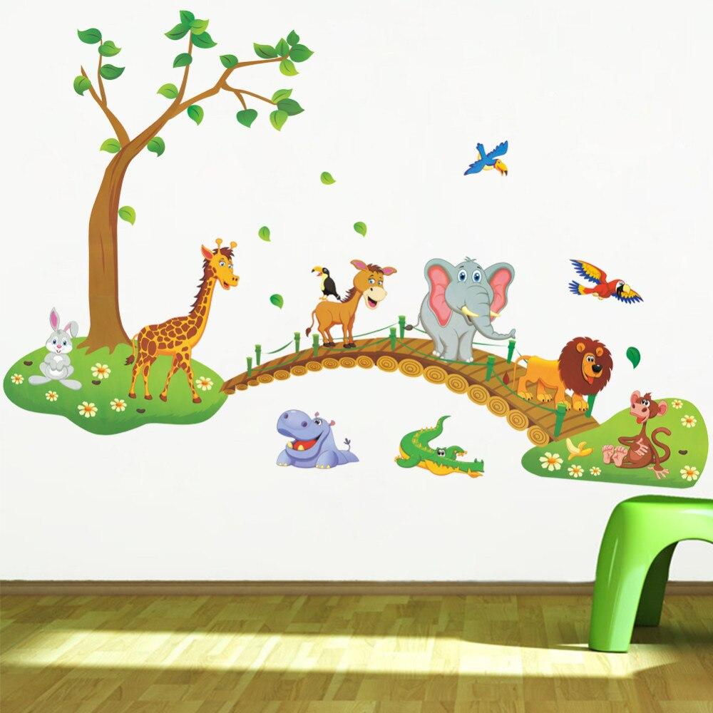 3D Del Fumetto Giungla selvaggia animale albero ponte leone Giraffa elefante uccelli fiori adesivi da muro per la camera dei bambini soggiorno casa decor