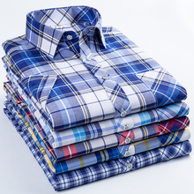 2019 men's new button shirt with comfortable soft left breast pocket 100% cotton stylish business casual slim plaid shirt цены