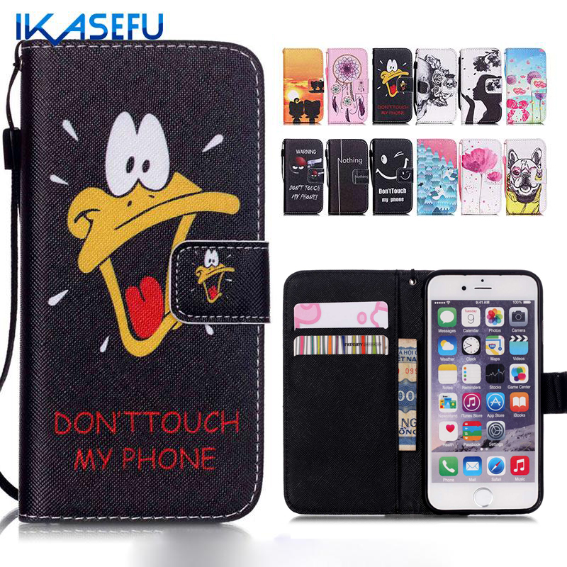 Cartoon Phone Cover Leather Wallet Flip Case for iPhone 5 5C SE 6 6S 6 Plus iPod touch 6 Capa 5 Fundas 5S Silicone Coque Case