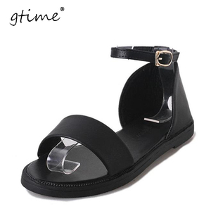 Gtime Gladiator Sandals 2017 Summer Style Flat Heel Soft Leather Casual Ladies Sandalias Fashion Brand Beach Sandals ZWB53