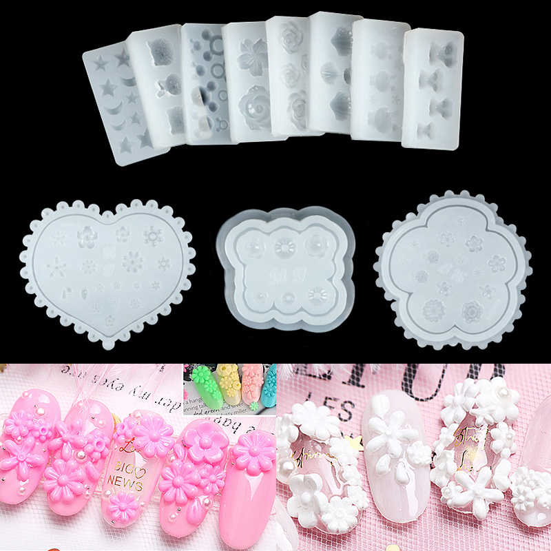 1PC Nail Art Silicone Mold Stars Moon Mickey Mouse Rabbit Flower Shapes More Style Nail Glue Diy Manicure Nail Art Decorations-in Nail Art Templates from Beauty & Health