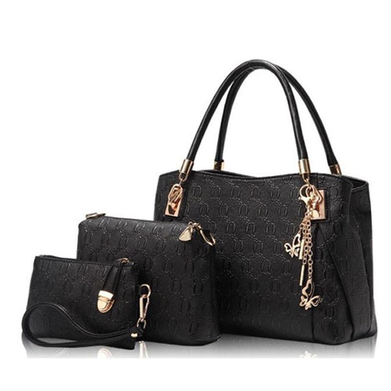 84671195d6 KNY KAVIN New Women Bags Set 3 Pcs Leather Handbag Casual Shopping ...