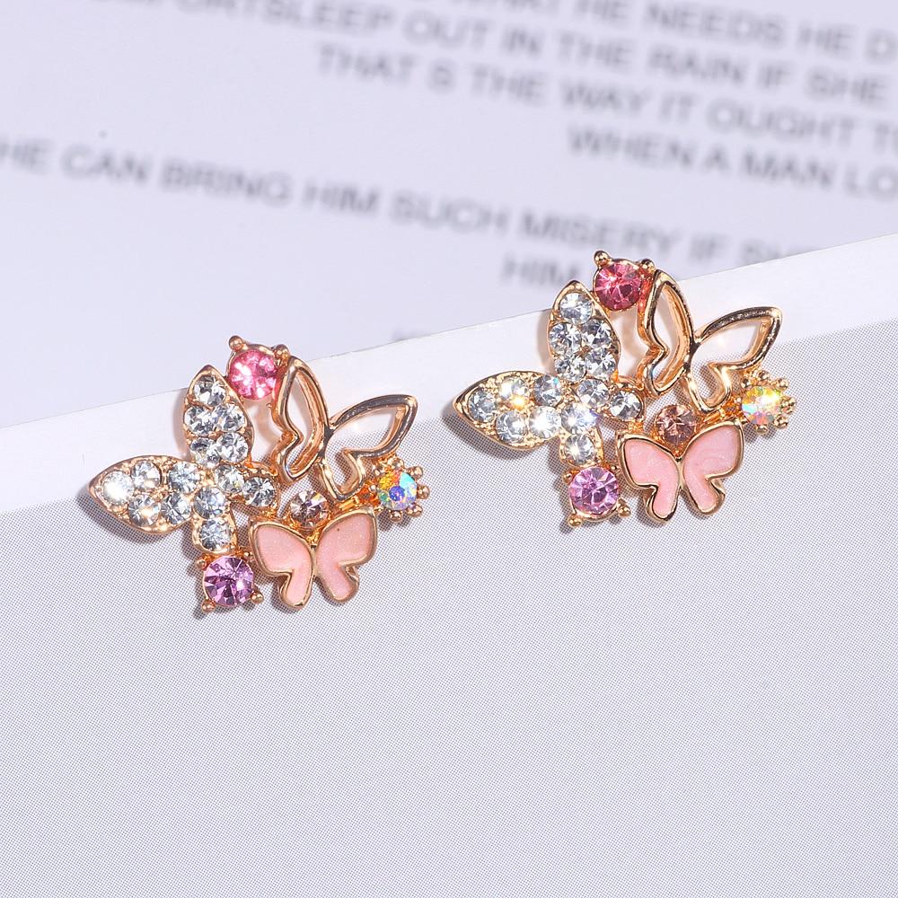 Elegant Cute Hollow Shiny Colorful Crystal Butterfly Stud Earrings For Women Girls Fashion Jewelry Women Earrings Brincos WX201