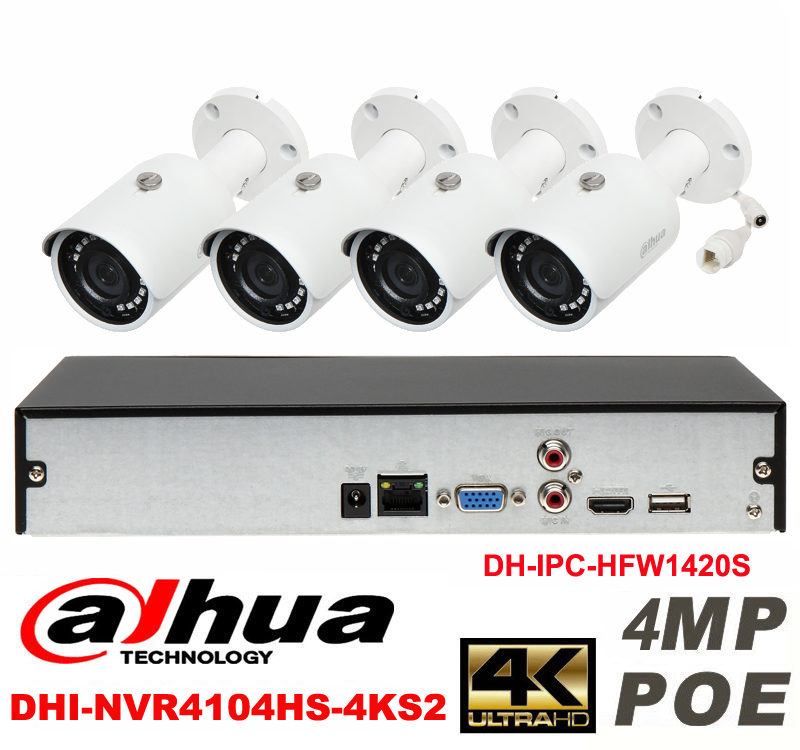Dahua original 4CH 4MP H2 64 DH IPC HFW1420S 4pcs Waterproof camera POE DAHUA DHI NVR4104HS