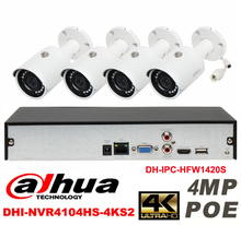 Dahua original 4CH 4MP H2.64 DH-IPC-HFW1420S 4pcs Waterproof camera POE DAHUA DHI-NVR4104HS-4KS2 bullet IP security camera kit