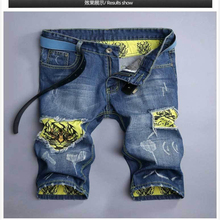 2016 Summer Shorts Jean Menswear Fashion Tiger Print Denim Baggy Loose Hole Ripped jeans shorts Motorcyclist Coverall 28-36