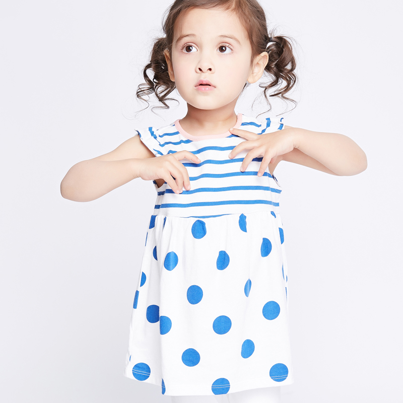2017 Little Baby Girls Dress Blue Mint Pink Polka Dot Stripes Cute Clothes for Infant Toddlers Summer Fashion age23456 Years Old polka dot baby girls clothes backless flounced kid girls rompers jumpsuit playsuit one pieces outfits 0 18m blue pink purple