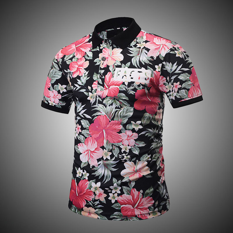 d7e30e5c Tropical Islands Style Polo Shirt Men Short Sleeve Quality Personality  Contrast Color Flower Letter Print Polo Shirt Slim D2824-in Polo from Men's  Clothing ...