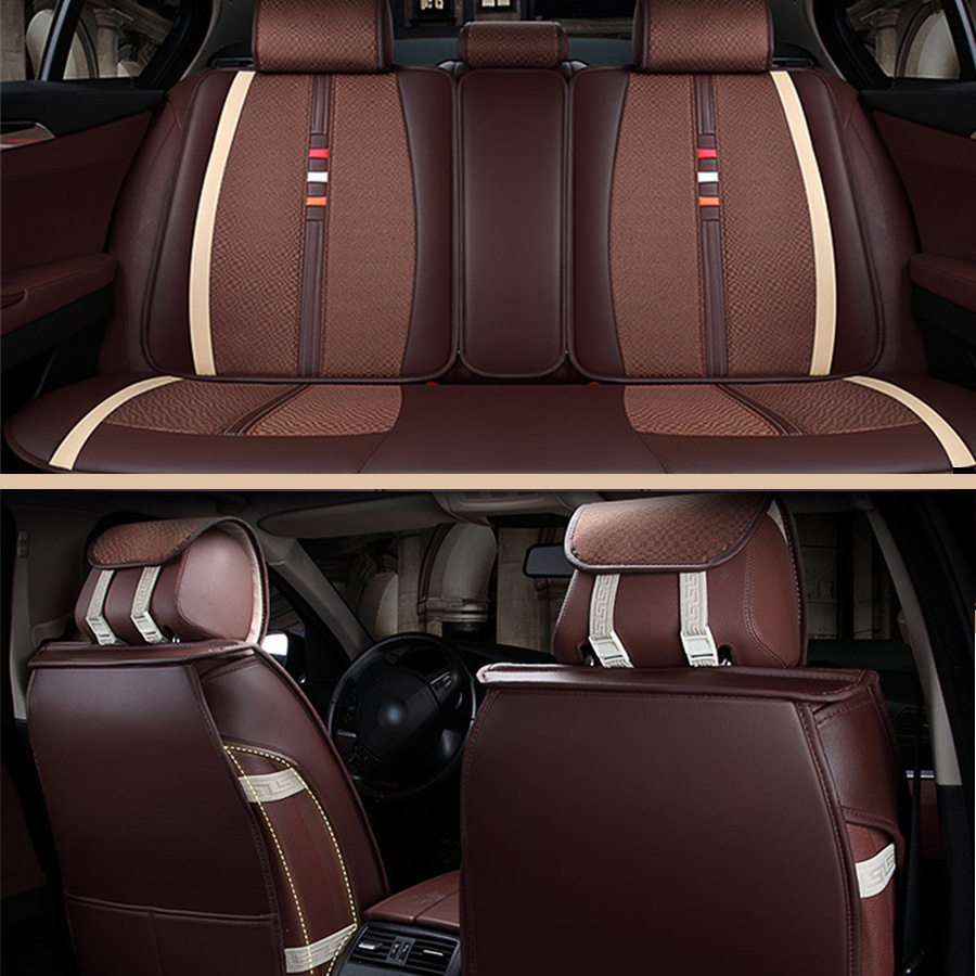 Front Rear Luxury Leather Car Seat Cover 4 Season