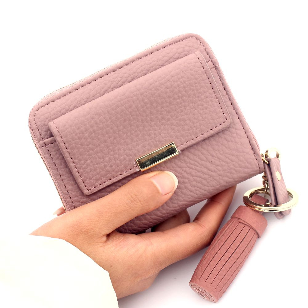 купить Classical Fashion Women Short wallet Female Litchi grain tassel coin purse bag brand designed ladies Clutch Card holder Wallets недорого